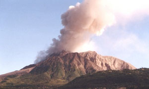 The Soufrière Hills volcano in Montserrat with pyroclastic flow deposits visible on the left flank