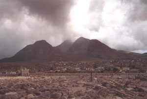 The devastated Montserrat capital of Plymouth under volcanic debris
