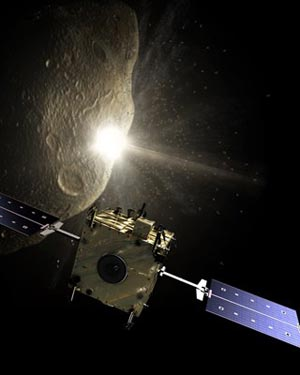 Don Quijote tilting at asteroids (Credit: Courtesy of ESA - AOES Medialab)