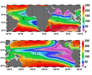 Mean dissolved oxygen concentrations in the world's oceans at a depth of 400 metres (Image courtesy of AAAS/Science)