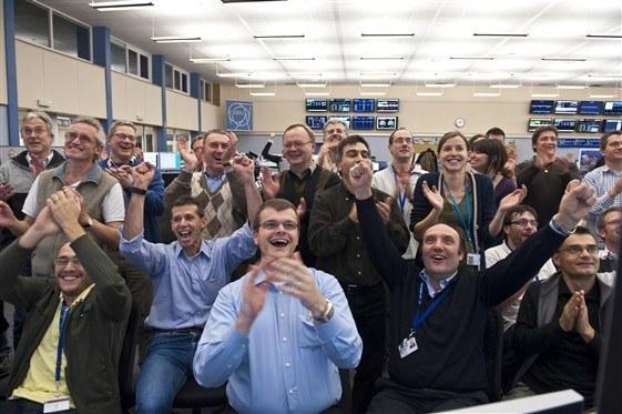 LHC control room celebrations (Credit: CERN)