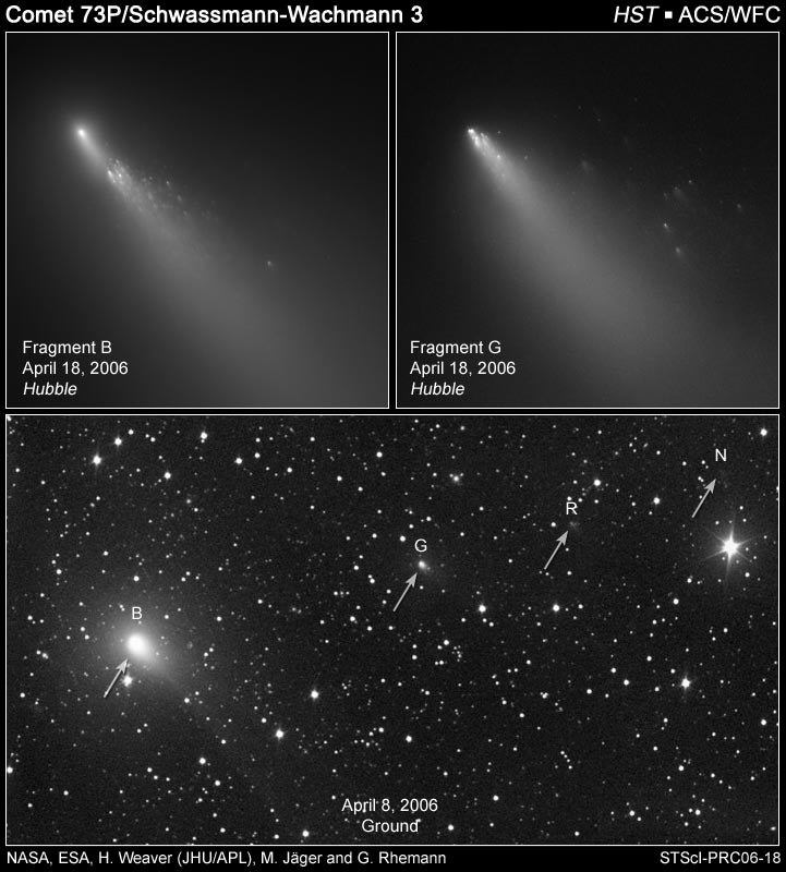 2005 Hubble Space Telescope image of the breakup of a comet (73/P Schwassmann-Wachmann 3).